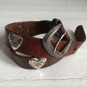VTG Brown Leather Belt w/ Silver Etched Hearts
